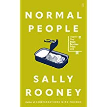 Cover of the Normal People by Sally Rooney in bright yellow, white writing and a drawing of an opened tin of sardines.