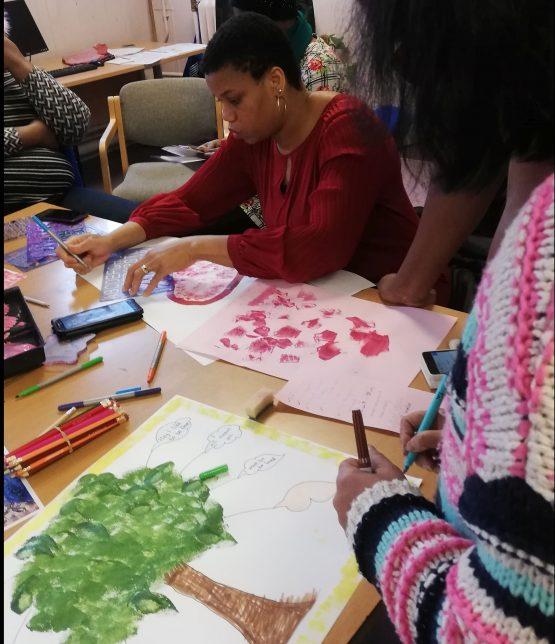Women Making It Credit: GWL Women painting and drawing at GWL