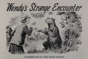 An illustration of a woman who has just come face to face with a bear. Above the illustration it says 'Wendy's Strange Encounter'