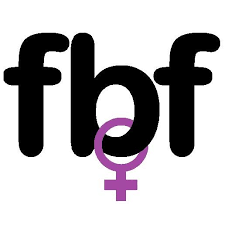 Logo of Feminist Book Fortnight. Inital letters of organisation are used. The letters are embolded in lower case in black. A female gender symbol is seen hooked around the 'b'. The symbol is coloured purple.