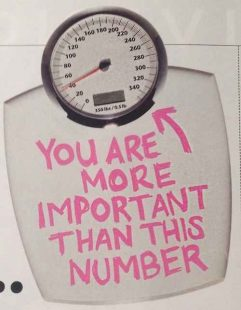 """A scale used for weighing yourself. It has pink writing in bold on the steps saying """"You are more important than this number""""."""