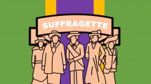 Agnes Husband (Vote 100 animation screenshot with a banner that reads 'Suffragette')