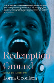 Book cover of Redemption Ground features a young woman wearing a hat. She appears to be singing and the cover is kept in blue colours.