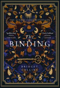 Cover of The Binding. An artwork of blue, gold and dark red colours. An old fashioned key under the text and autumn coloured leafs.