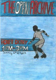its a poster, the background is light blue, the title is red and white surounded by some dark blue and there is an outline of a woman who is roller skating.