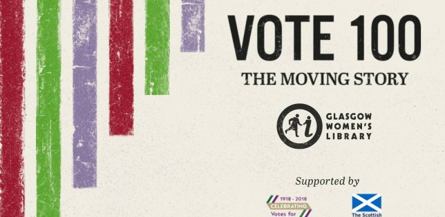 "Black text that reads, ""Vote 100: The Moving Story"". To the left are stripes of purple, green and red bands of colour."