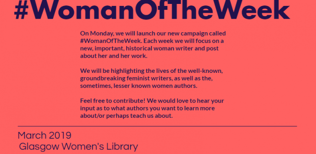 """Pink background with blue text: """"Follow our new campaign called #WomanOfTheWeek. Each week we will focus on a new, important, historical female writer and post about her and her work. We will be highlighting the lives of the well-known, groundbreaking feminist writers, as well as the, sometimes, lesser known female authors. Feel free to contribute! We would love to hear your input as to what female authors you want to learn more about/or perhaps teach us about."""""""