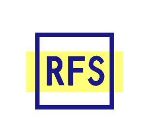 Logo showing a yellow stripe with a blue squarer outline and the letters RFS in the centre.