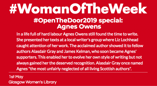 "A red post with white bold font reading ""woman of the week special about agnes owens""."