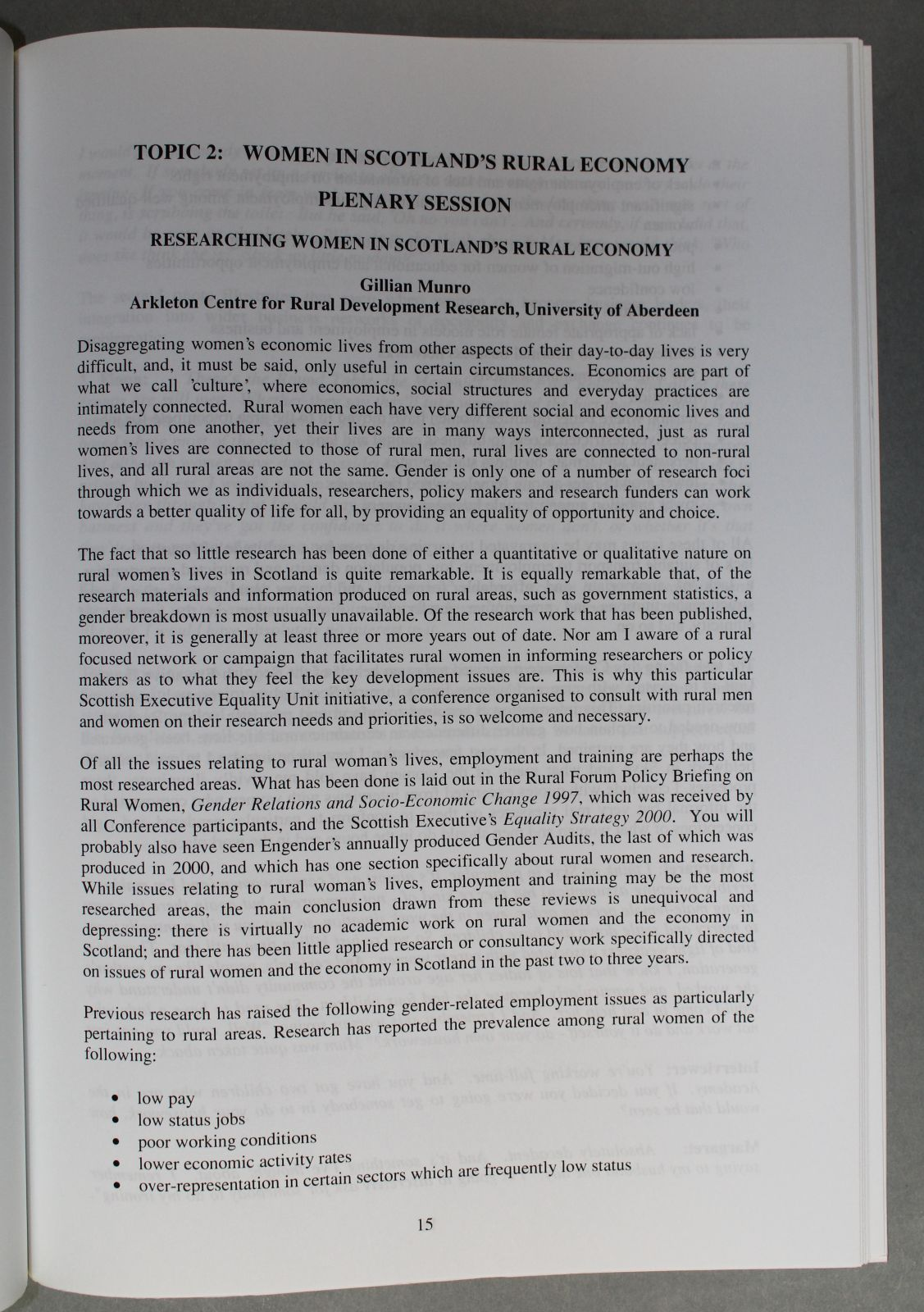 """A white page with typed black text. It shows a plenary from the conference titled, """"Women in Scotland's Rural Economy"""""""