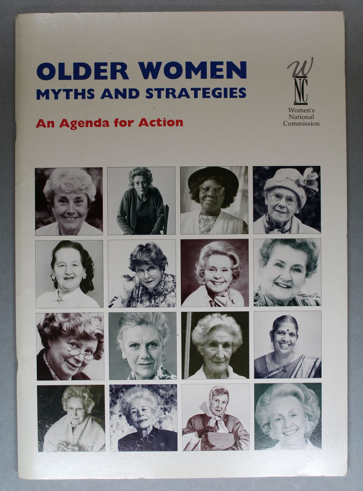 A book featuring lots of smaller images of older women on its cover.