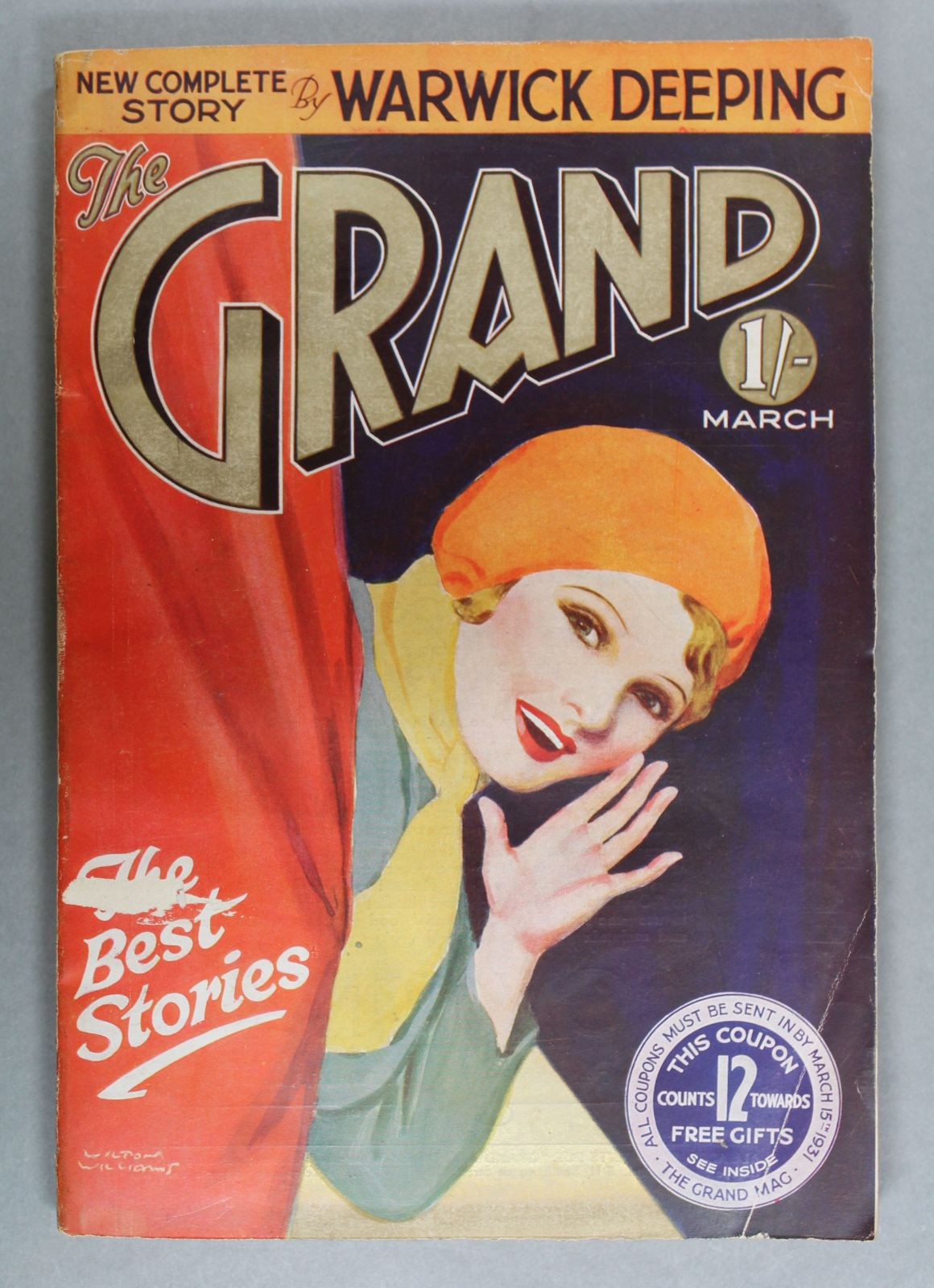 A magazine with an illustrated cover. It shows a woman learning around a curtain and cupping her hand to her mouth as though she were about to say something.