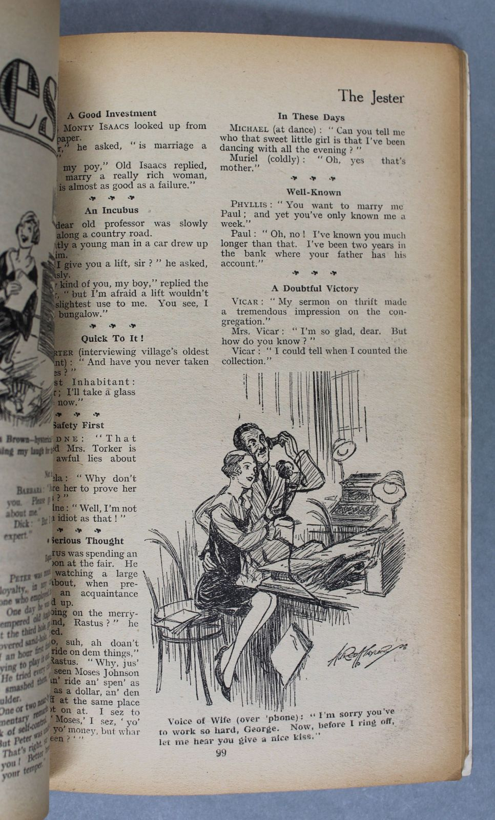 The inside page of an old magazine. It shows a small illustration amongst the text, showing a woman and a man speaking on an old-fashioned telephone.