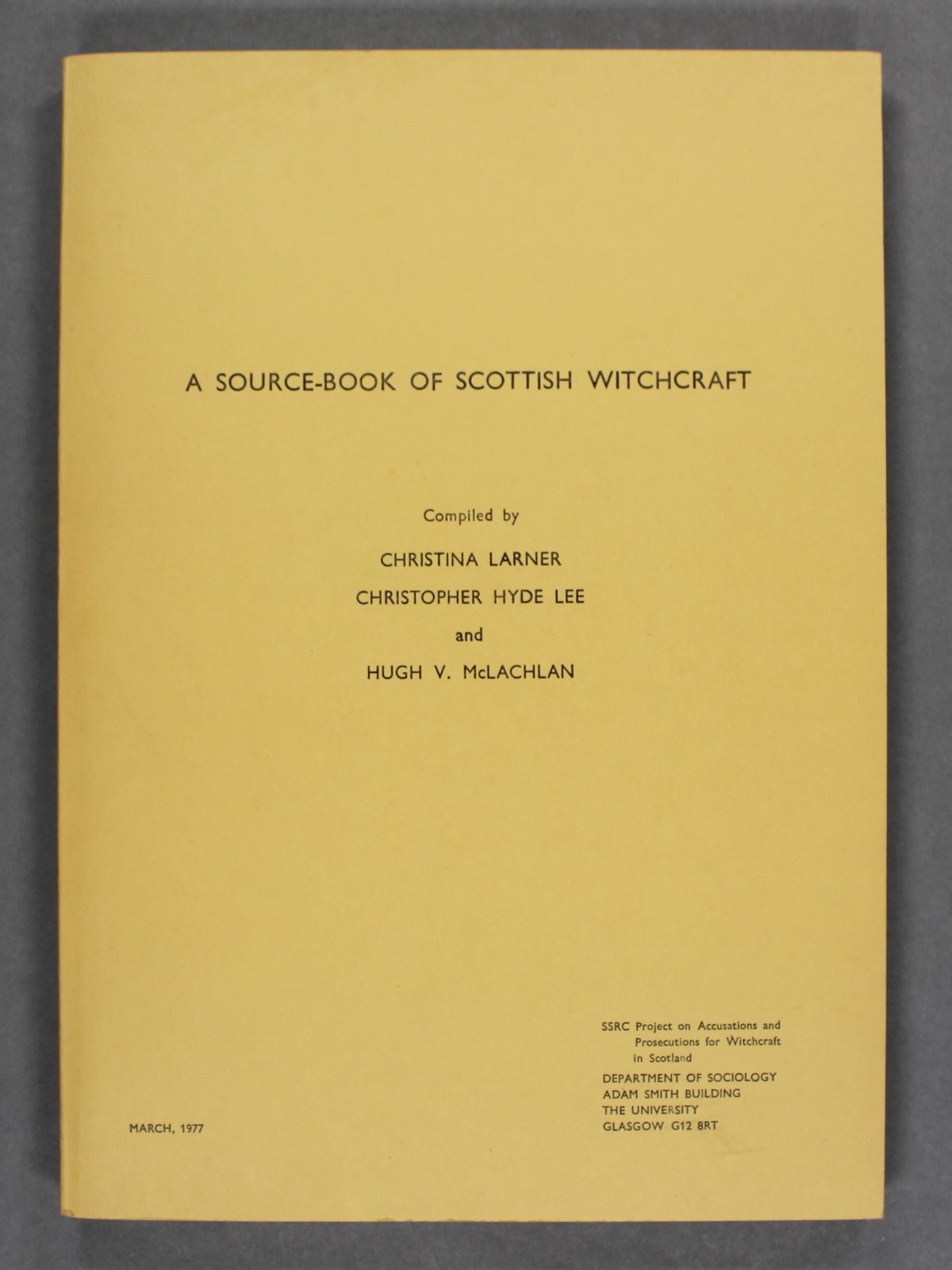 A yellow book with black text on the cover. March, 1977, is printed in the bottom left corner.