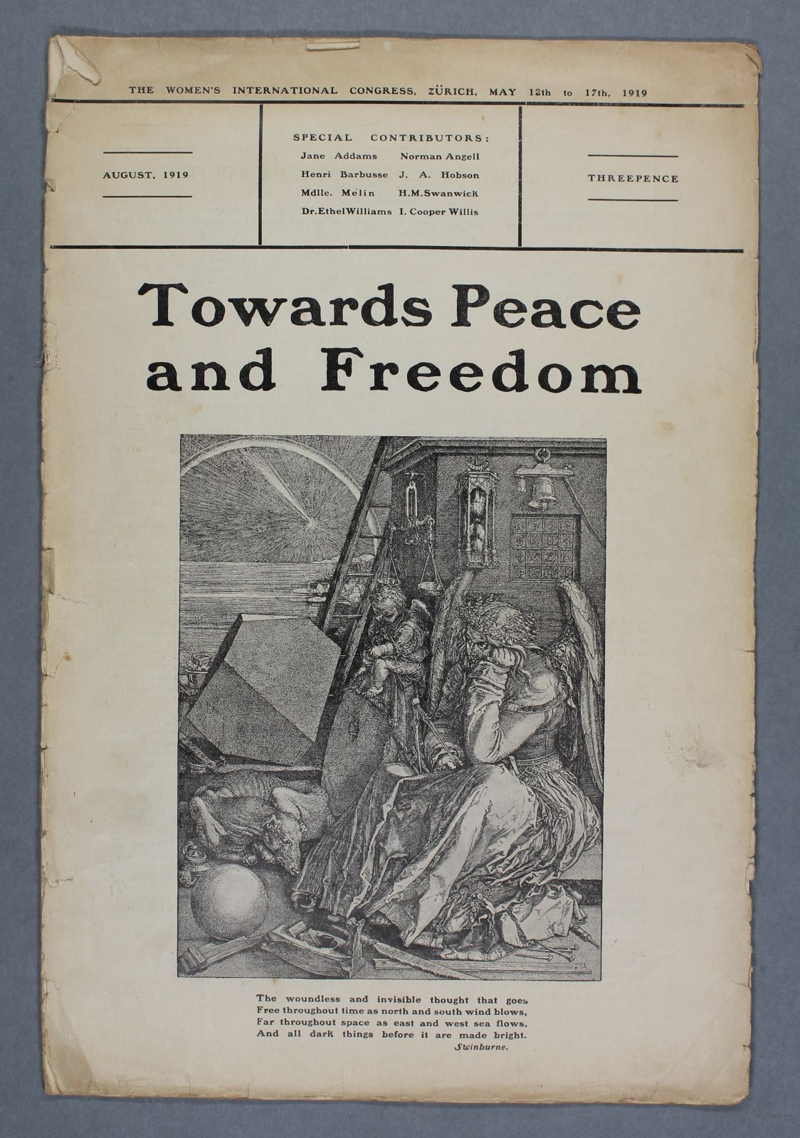 An old booklet that is slightly browned with age. 'Towards Peace and Freedom' is written in bold lettering above a black and white illustration depicting an angel who looks fed up, surrounded by different objects.