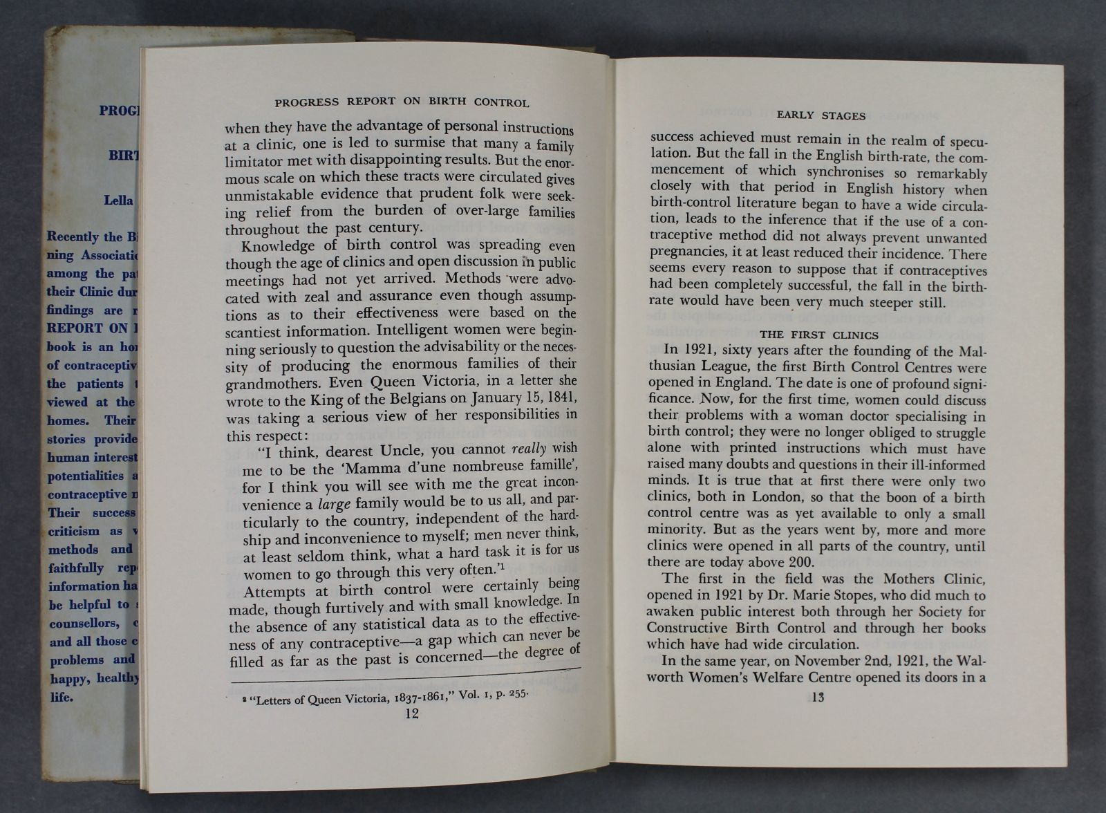 """The open pages of a book showing black text on white pages. A heading reading, """"The First Clinics"""", is visible on the right-hand page."""