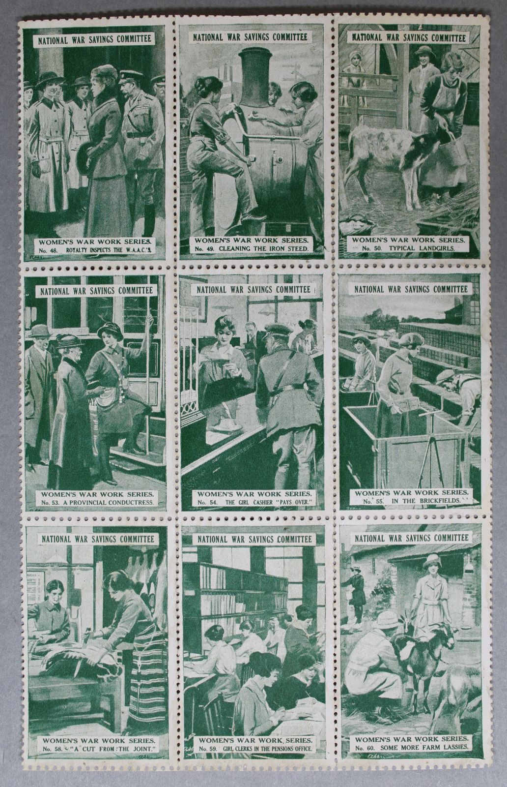 A sheet of green stamps showing images of women doing war work. This includes butchery, milking goats, working as clerks and working in a factory.