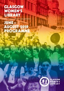 The cover of our 2019 Summer programme, showing an old photograph of people at a protest with a rainbow covering the cover with red at the top and blue at the bottom.