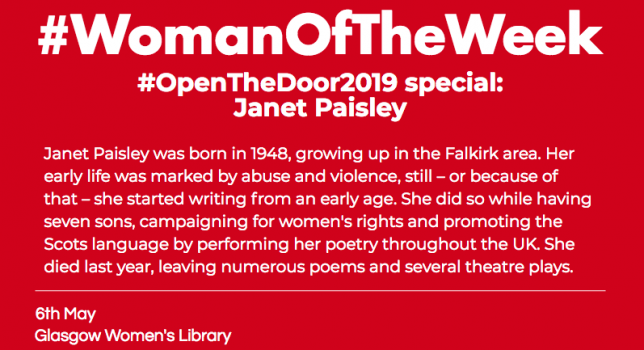 "A red post with white, bold font reading ""WOman of the week open the door special on janet paisley."""