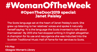 """A red post with white, bold font reading """"Woman of the week open the door special on Scottish author Janet Paisley""""."""