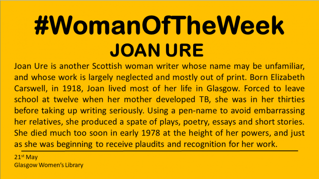 A yellow background with black text detailing some of the details of Joan Ure's life. Full text is written below.