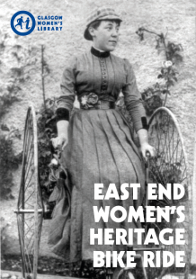 Click to download the GWL East End Bike Ride Map (Image is the cover of the GWL East End Bike Ride Map, featuring a 1880s photograph of a woman riding a tricycle)