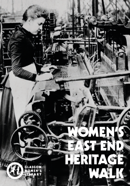 Cover of the GWL East End Walk map, featuring an old black and white photo of a woman working at a loom in a factory