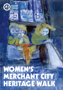 Click to download the Women of the Merchant City Heritage Walk Map (Image is the cover of the GWL Merchant City map, featuring a vibrant painting by Joan Eardley