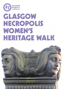 Click to town load the Necropolis Women's Heritage Walk Map (Image is the cover of the Necropolis Women's Heritage Walk Map, featuring a stone carving of two women's heads