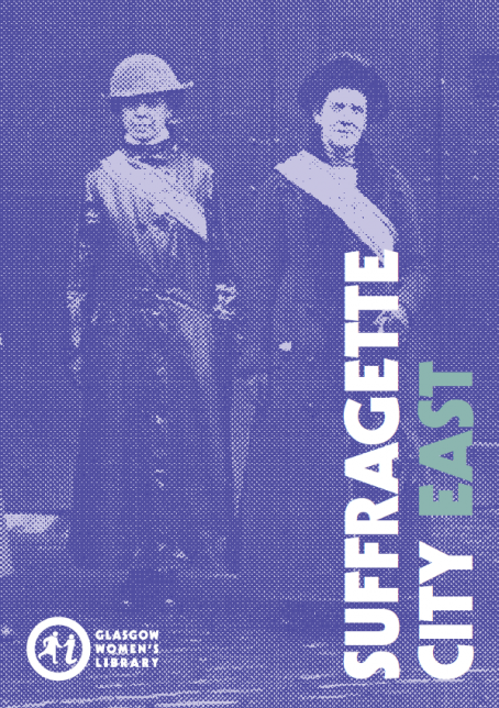 Cover of Suffragette City East Trail Map, featuring two suffragettes in raincoats and sashes