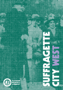 Click to download the Suffragette City West Trail Map (image is the cover of the Suffragette City West Trail Map, featuring a suffragette giving a speech