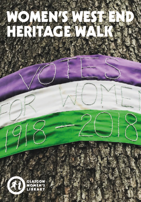 Cover of the GWL West End Walk map, featuring women's suffrage colours tied around the Suffrage Oak