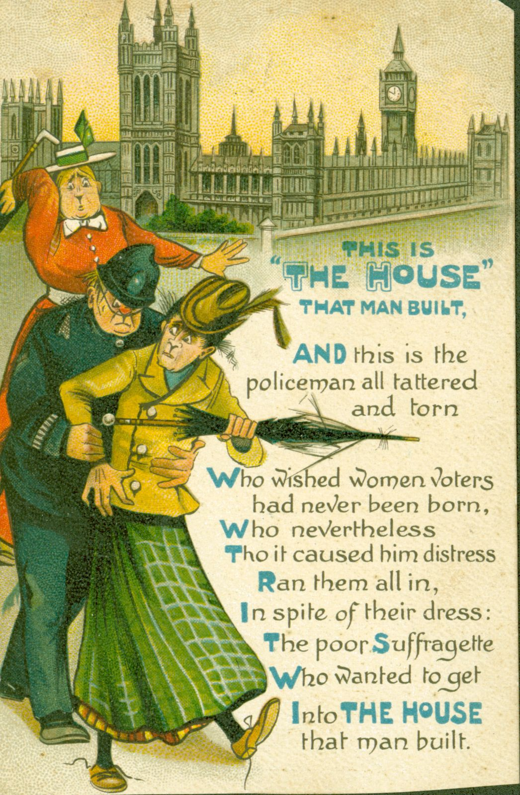 A harrassed policeman shepherds two comically plain women to the accompaniment of an anti-Suffragette poem.