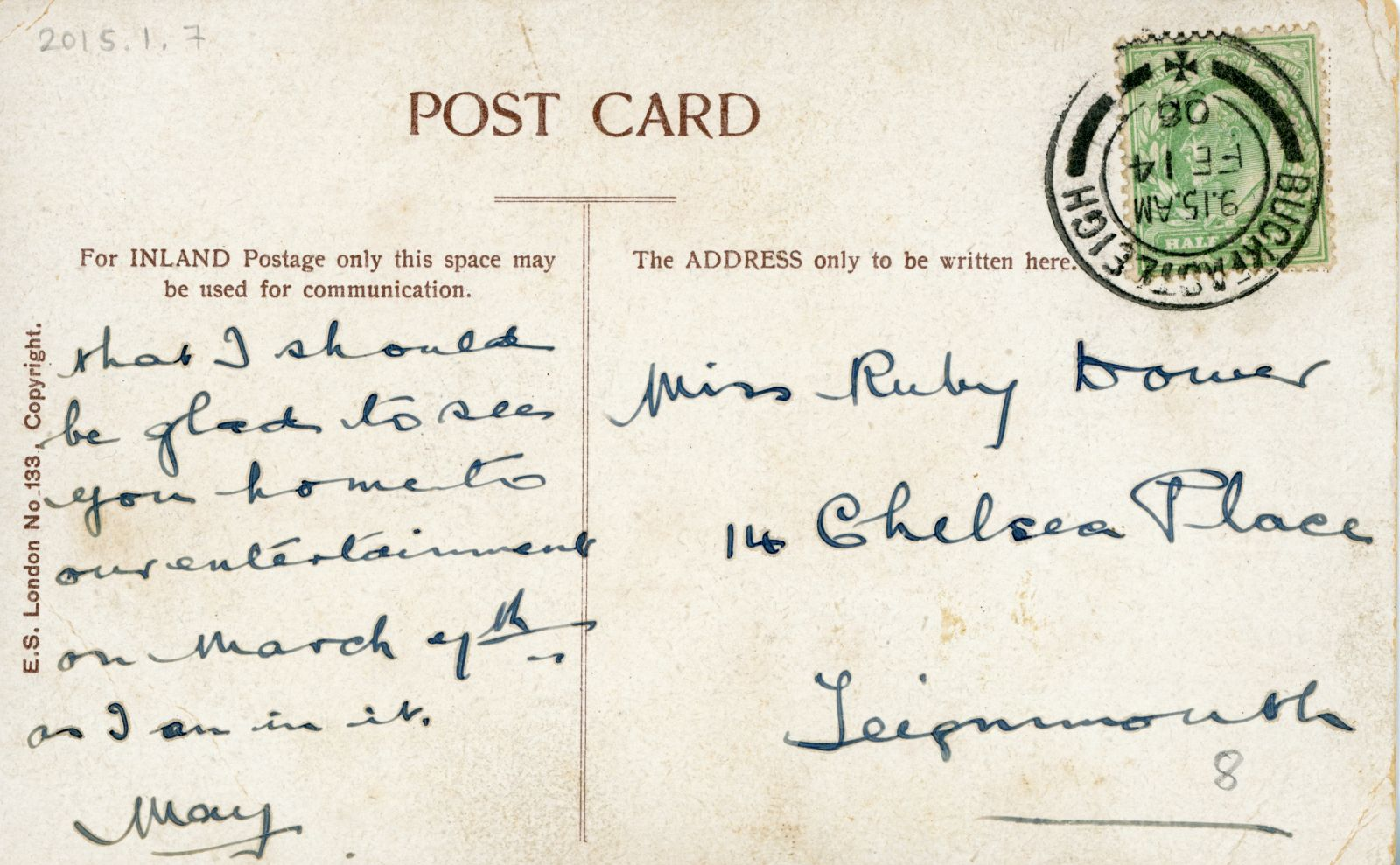 Reverse of 'Dear Ruby...' postcard, inscribed with an invitation to an 'entertainment'