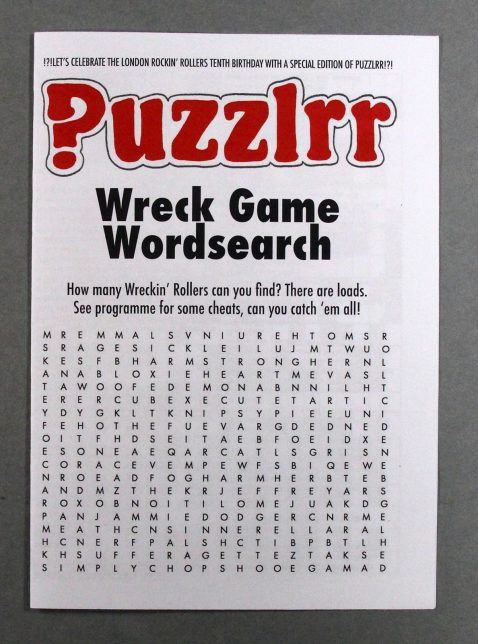 Roller Derby themed puzzle book cover featuring a wordsearch
