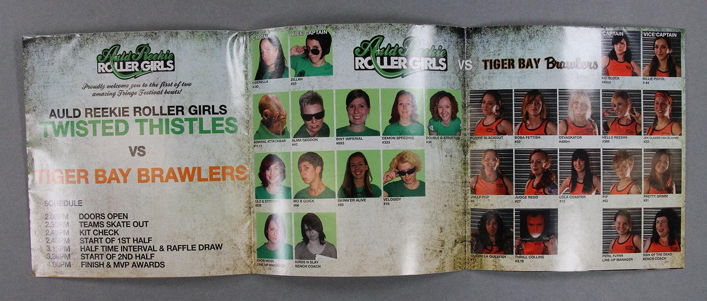 Roller Derby Bout programme interior with photos of Auld Reekie Roller Girls Twisted Thistles players in green and Tiger Bay Brawlers players in orange