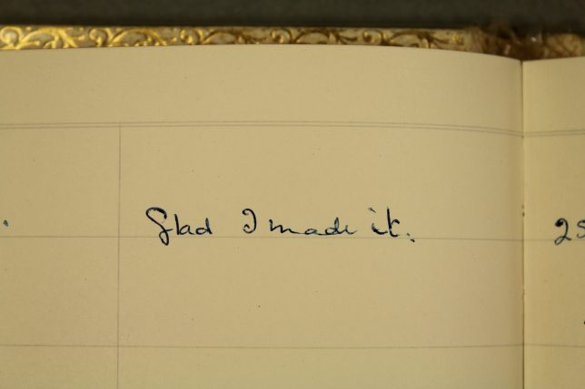 Image from a guest book in the Dorothy Dick archive. Credit: GWL collection