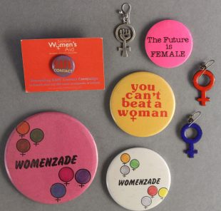 Scottish Women's Aid badges, compact mirror and earrings