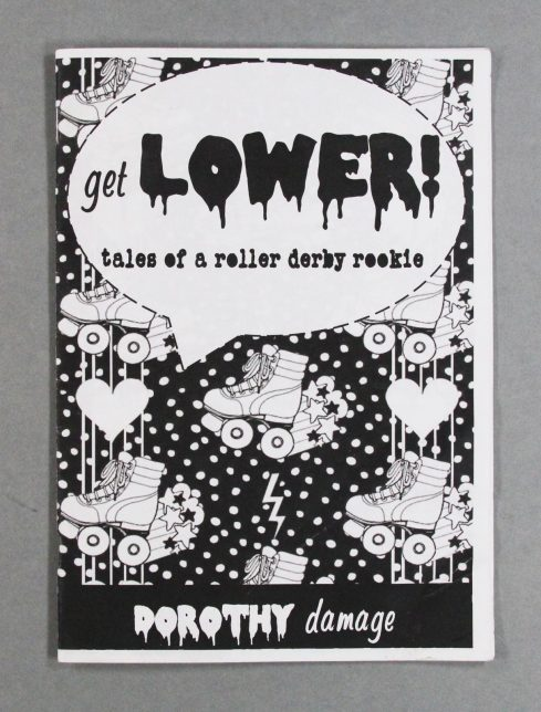 Get Lower! zine front cover, with the title 'Get LOWER!: tales of a roller derby rookie' in a speech buble, and a background of roller skates, hearts and lightning flashes. The zine is printed in black and white.