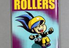 Lil Rollers colouring book cover, featuring a gleeful young roller derby player leaping with her arms out.