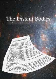 A page from a book floating in space. 'The Distant Bodies' is the title at the top of the image.