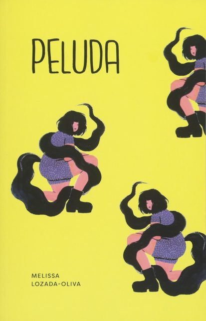 Cover of Peluda by Melissa Lozada-Oliva. The book cover is yellow with repeated illustrations of a woman with short dark hair who seems to be entangled in a snaking dark cloud