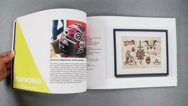 Five Years book interior pages featuring Playworld exhibition, with a photo of a roller derby helmet covered in stickers from the NMRD collection