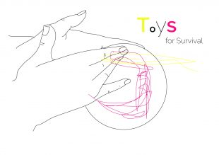Line drawing of hands playing with abstract pink string with words Toys for Survival to top right
