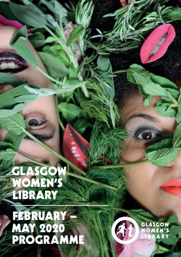 The cover of the Spring programme, showing two women's faces covered in leaves and cut out images of lips.