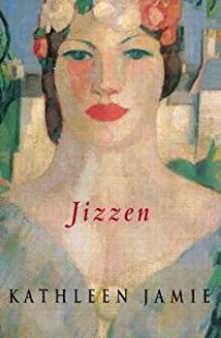 Cover of Jizzen by Kathleen Jamie. (The cover features a stylised illustration of the head an shoulders of a woman wearing a flower crown in soft, warm colours)