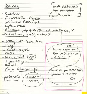 A photograph of a handwritten page from Adele's Clore Fellowship notebook with a highlighted diagram of two interlinked circles that read, 'Question 1: How can you live your values in an institution?' And ' Question 2: How do you hold the spaces to account?'