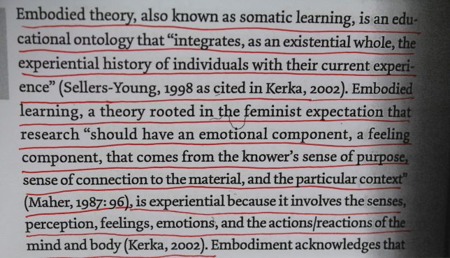 """Cropped photograph of underlined part of text from Laura Evans, in Feminisms and Museums, Vol. 2 which reads ''Embodied theory, also known as somatic learning, is an educational ontology that """"integrates, as an existential whole, the experiential history of individuals with their current experience"""" (Seller- Young, 1998 as cited in Kerka, 2002). Embodied leaning, a theory rooted in the feminist expectations that research """"should have an emotional component, a feeling component, that comes from the knower's sense of purpose, sense of connection to the material, and the particular context"""" (maher, 1987:96), is experiential because it involves the senses, perception, feelings, emotions, and the actions/reactions of the mind and body (Kerka, 2002).'"""