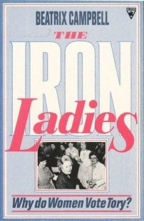 light blue book cover with big white and pink font, also features a picture of the iron ladies