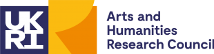 UK Research and Innovation: Arts and Humanities Research Council logo (the UKRI acronym is presented in a blue next to a stylised R in shades of yellow, with the text Arts and Humanities Research Council in blue)